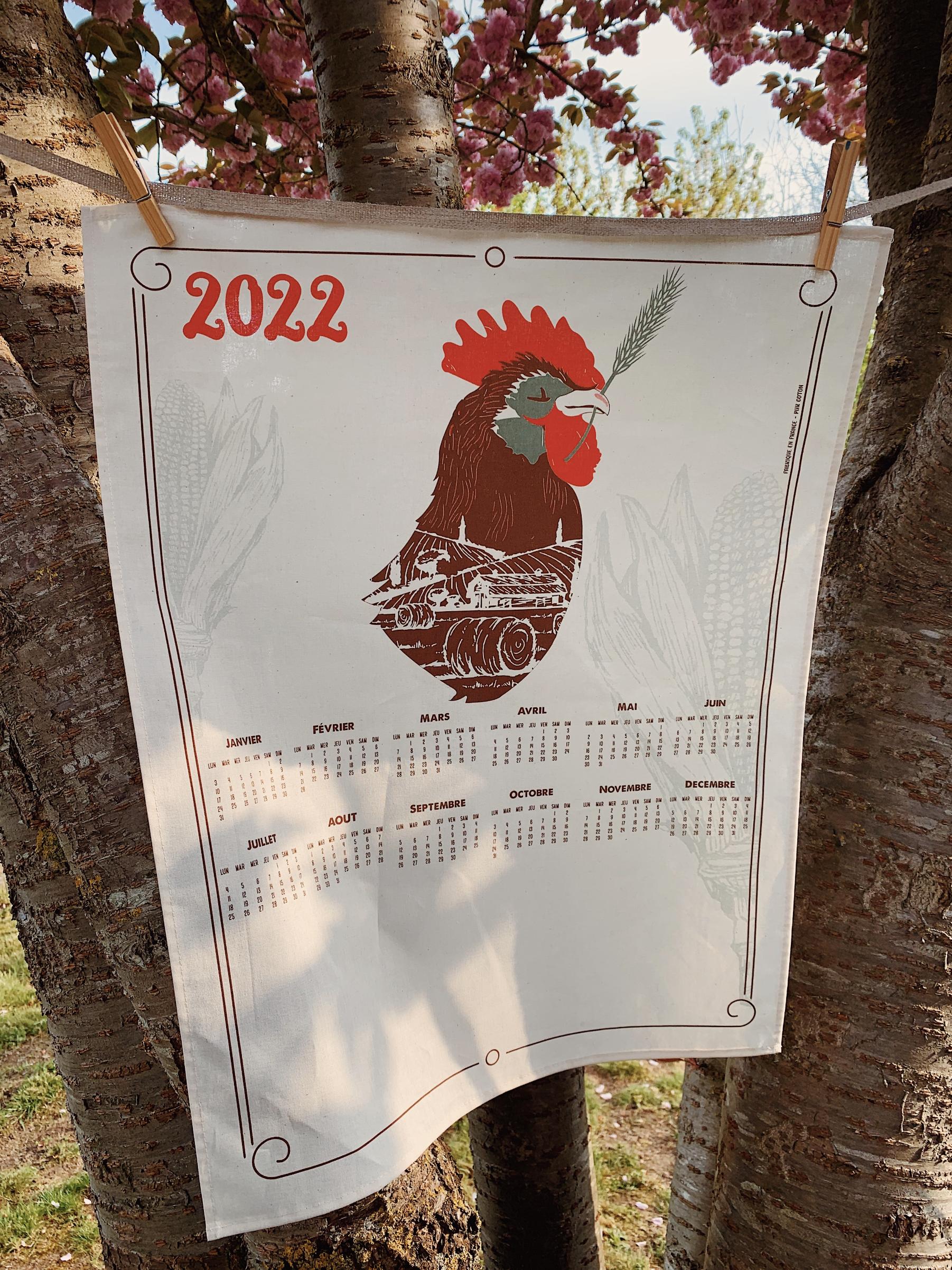 calendrier textile personnalisable coq